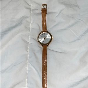 Michael Kors 'Runway' Slim Double Leather Watch